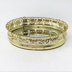 Hollywood Regency gold vanity  perfume tray mini